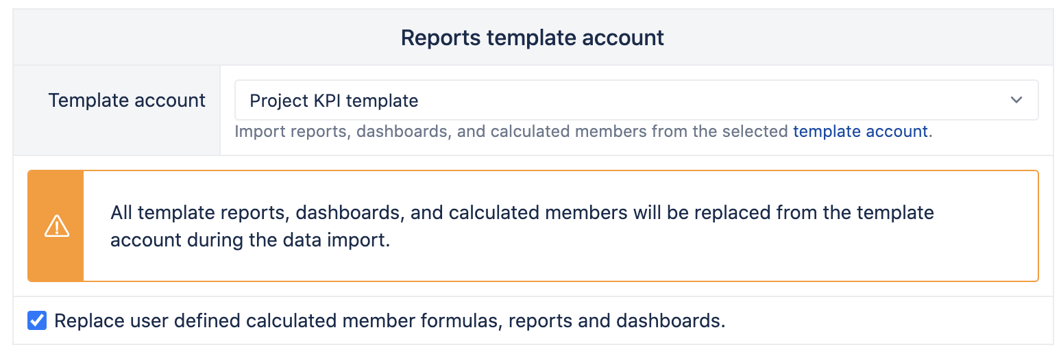 Assigning report template account